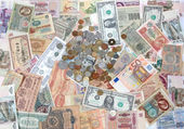 Many coins , banknotes of different countries and times. Money. — Stock Photo