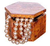 Jewelry box with beads, pearls and jewellery isolated on white background. — Stock Photo