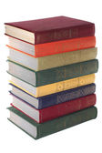 Stack of Old books isolated white — Stock Photo