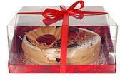 Cake isolated on  white background. Cake With Chocolate, Fruit And Cream. — Stock Photo