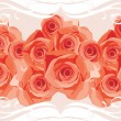 Stock Vector: Ornamental border with blooming roses