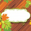 Royalty-Free Stock Vector Image: Acorns, rowan and maple leaves on the wooden background
