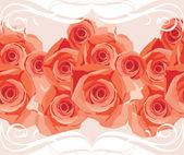 Ornamental border with blooming roses — Stock Vector