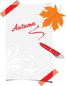 Tükenmez kalem ve akçaağaç yaprağı ile kıvrılmış kağıt levha — Stok Vektör