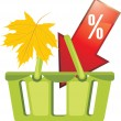 Shopping basket. Seasonal discounts — Stock Vector