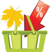 Shopping basket. Seasonal discounts — Stock Vector