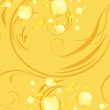 Yellow bubbles on the decorative background - Stock Vector