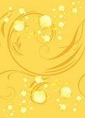Yellow bubbles on the decorative background — Stock Vector