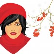 Brunette in a red knitted cap with rowan branch in the snow — Stock Vector