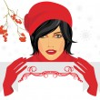 Brunette in a red knitted cap with greeting banner in hands — Stock Vector