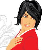 Portrait of brunette in a red blouse — Stock Vector