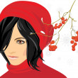 Portrait of brunette in a red knitted cap with rowan branch in the snow — Stock Vector