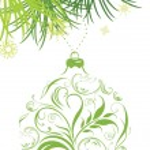 Ornamental green Christmas ball and fir tree branch — Stock Vector