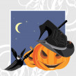 Halloween pumpkins with broom, bat and spiders. Holiday frame — Stock Vector #13615773