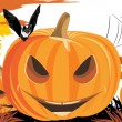 Halloween pumpkins, bat and spiders — Stock Vector
