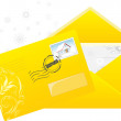Christmas yellow envelop with post stamp — Stock Vector