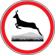 Silhouette of a running deer. Road sign — Stock Vector