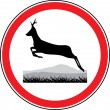 Stock Vector: Silhouette of a running deer. Road sign