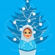 Stock Vector: Snow maiden and shining Christmas fir tree. Postcard