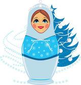 Snow maiden et noël sapin — Vecteur