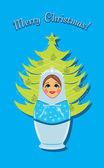 Snow maiden and Christmas fir tree. Postcard — ストックベクタ
