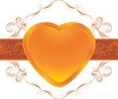 装飾的なフレームに輝く心。装飾的な要素 — ストックベクタ