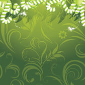 Ghirlanda di natale con canne di caramella sullo sfondo ornamentale — Vettoriale Stock