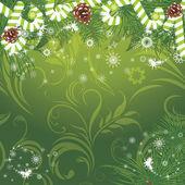 Vánoční strom jedle s candy hole na dekorativní pozadí — Stock vektor