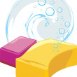 Sponges with soapy bubbles — Stock Vector