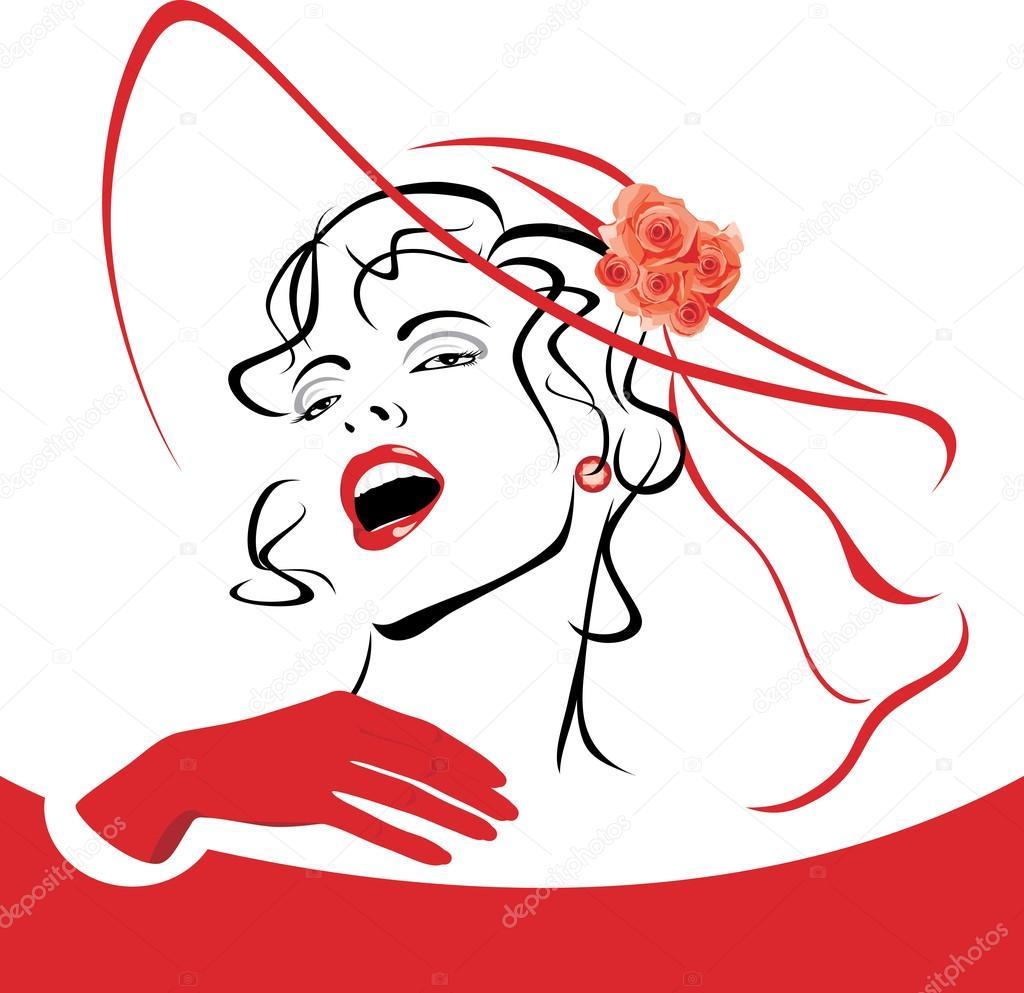 红色帽子与面纱和玫瑰的优雅女人