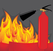 Extinguisher on the fiery background — Stock Vector