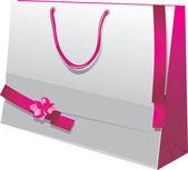 Bolsa de papel brillante regalo con lazos rosas — Vector de stock
