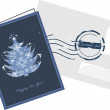 Christmas greeting card and envelop with post stamp — Imagens vectoriais em stock