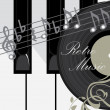 Piano keys, disc and notes. Abstract music background — Stock Vector