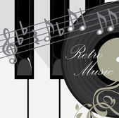 Piano keys, disc and notes. Abstract music background — Vector de stock