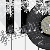 Touches du piano, disque et notes. fond de musique rétro — Vecteur