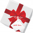 Royalty-Free Stock Vector Image: Gift box with tag and red bow