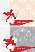 Etiketi ve dekoratif arka yay hediye kutuları — Stok Vektör