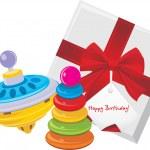 dárková krabička s dětmi pyramida a kolotoč hračkou — Stock vektor