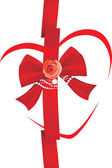 Röda bow med rose och sytillbehör. ikonen för design — Stockvektor