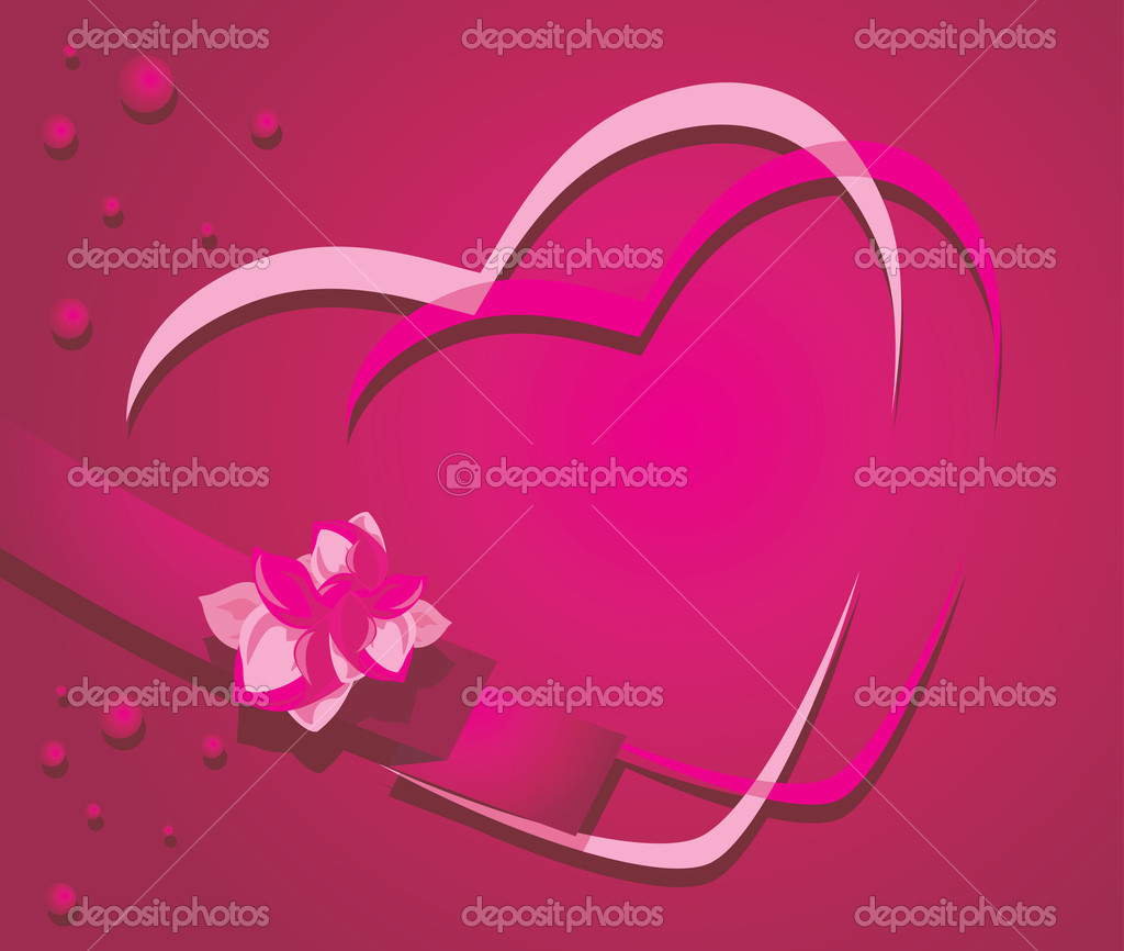 Hearts and ribbon with flower on the crimson background. Vector illustration  Stock Vector #18727607
