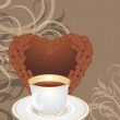 Cup and coffee heart on the ornamental background — Stock Vector #18795567