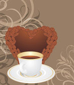 Cup and coffee heart on the ornamental background — Stock Vector