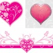 Ornamental hearts for design to the Valentines day — Stock Vector