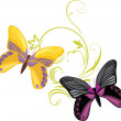 Royalty-Free Stock Vector Image: Pair of a bright butterflies with ornamental sprig