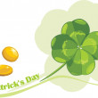 St. Patrick's Day clover leaf and coins — Stock Vector