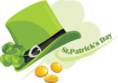 St. Patrick's Day hat with clover leaf and coins — Stock Vector