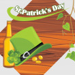 Royalty-Free Stock Vector Image: St. Patrick\'s Day hat and beer bottle on the wooden background