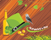 St. Patrick's Day hat, coins and beer bottle on the wooden background — Stock Vector