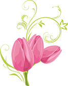 Three pink tulips with decorative sprig — Stock Vector